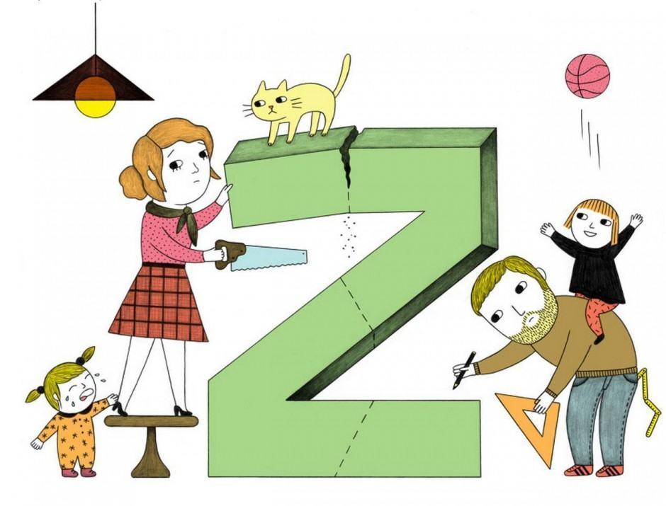 Kinder sägen mächtig an der Zeit ihrer Eltern – Illustration von Ana Albero für eine Kolumne im Magazin »Missy«. www.ana-albero.com/