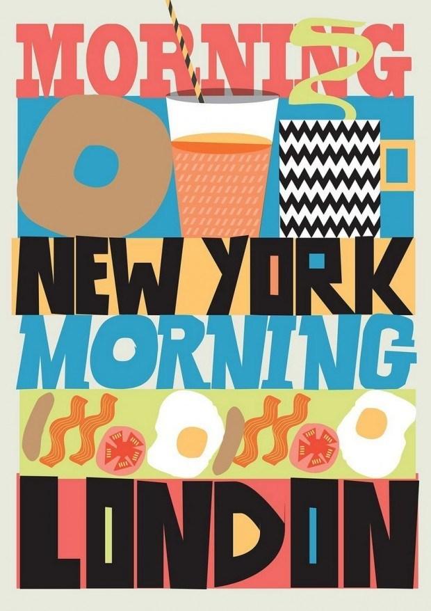 Rude – so nennen sich Abi & Rupert Meats – sagen auf illustrativ-typografische Weise der Welt Guten Morgen! http://www.thisisrude.com/