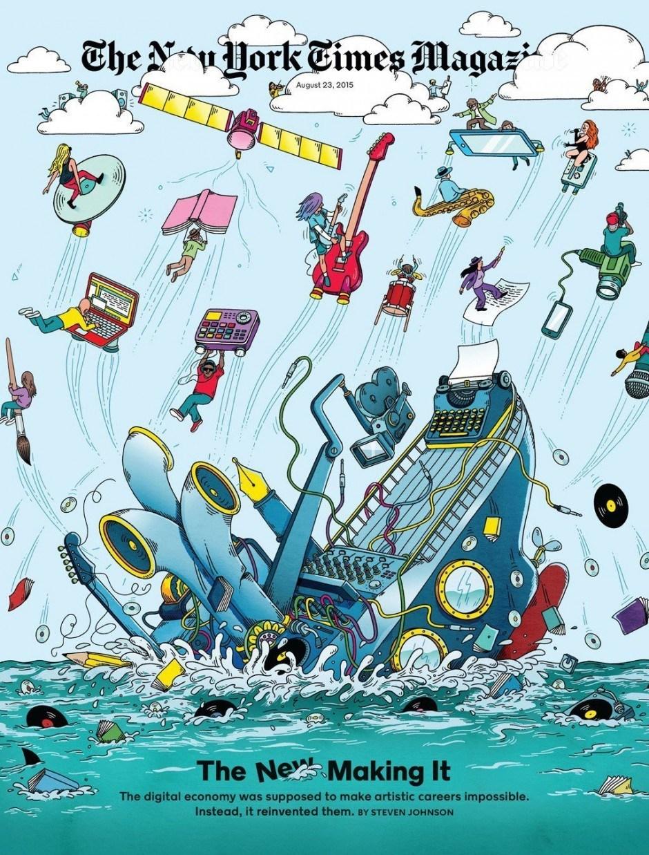 Wie Kunst in der digitalen Wirtschaft überlegt, eindruckvoll illustriert vom Briten Andrew Rae www.andrewrae.org.uk