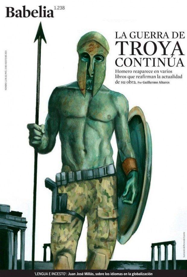 Homerischer Krieger vor Troya, illustriert von Fernando Vicente für die Literaturbeilage der spanischen Zeitung »El País«, www.fernandovicente.es