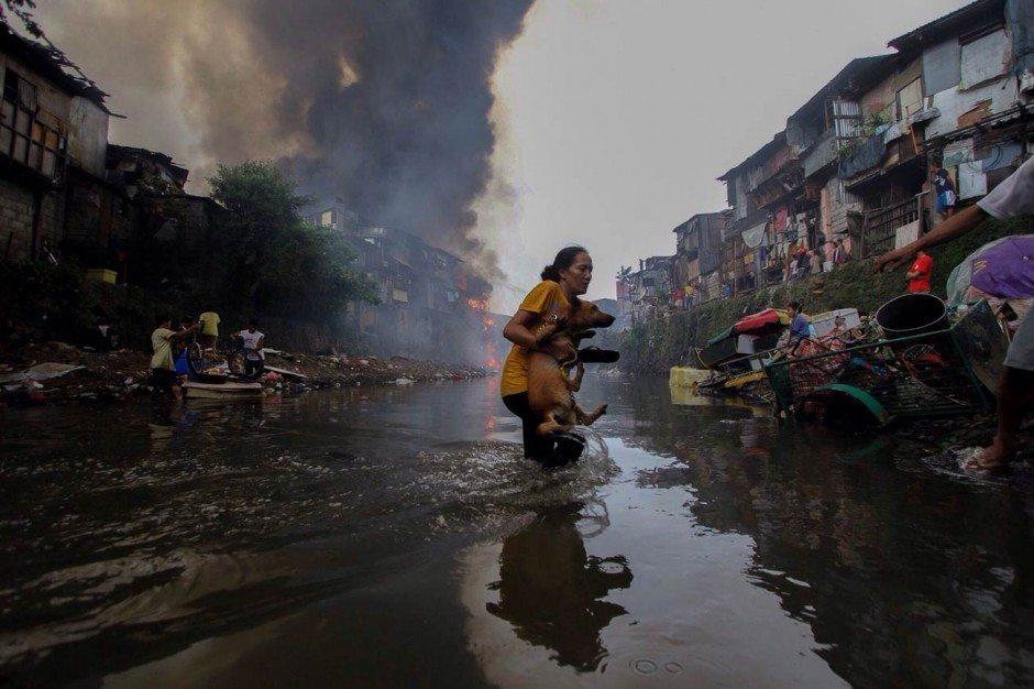The Photojournalist: Linus Escandor ist tatsächlich professioneller Fotojournalist – hier fotografierte eine Frau, die ihren Hund in Quezon City bei Manila aus dem Feuer rettet