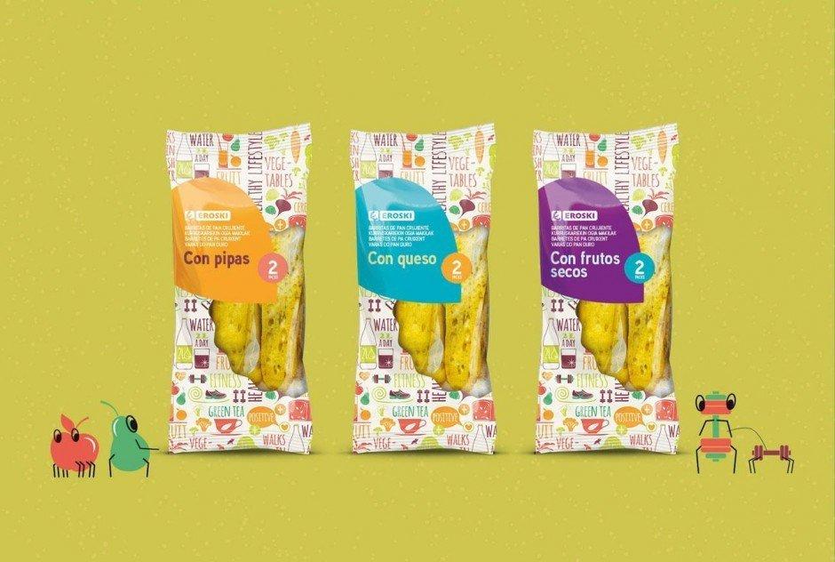 Spanien-Urlauber kennen die Supermarktkette mit dem ulkigen Namen Eroski. Hier ein neues Packaging von Supperstudio.
