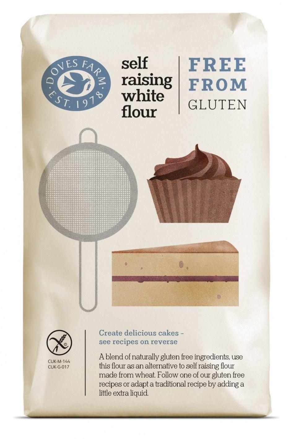 Studio H aus London kreierte minimalistische Illustrationen für glutenfreies Mehl von Doves Farm.
