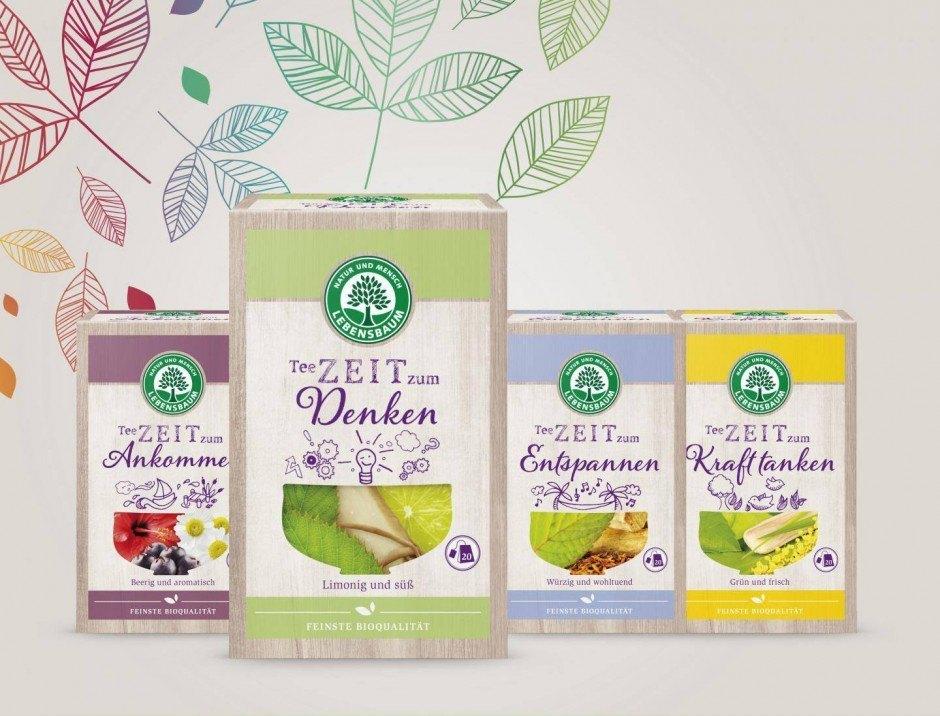 Ideenhaus aus München entwickelte für seinen Kunden Lebensbaum Konzept, Name und Packaging Design von vier TeeZEIT-Sorten.