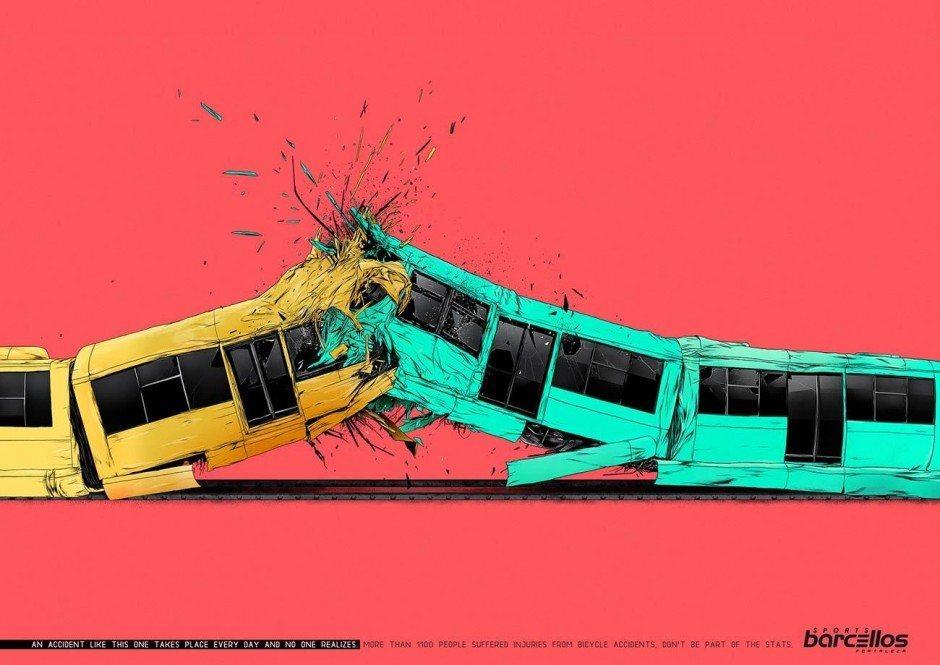 Der Illustrator Johnny Cardoso erinnert in dieser Kampagne für einen Fahrradhändler daran, dass sich hinter der Statistik viel schlimmere Unfälle verbergen als hinter sensationellen Nachrichtenmeldungen …