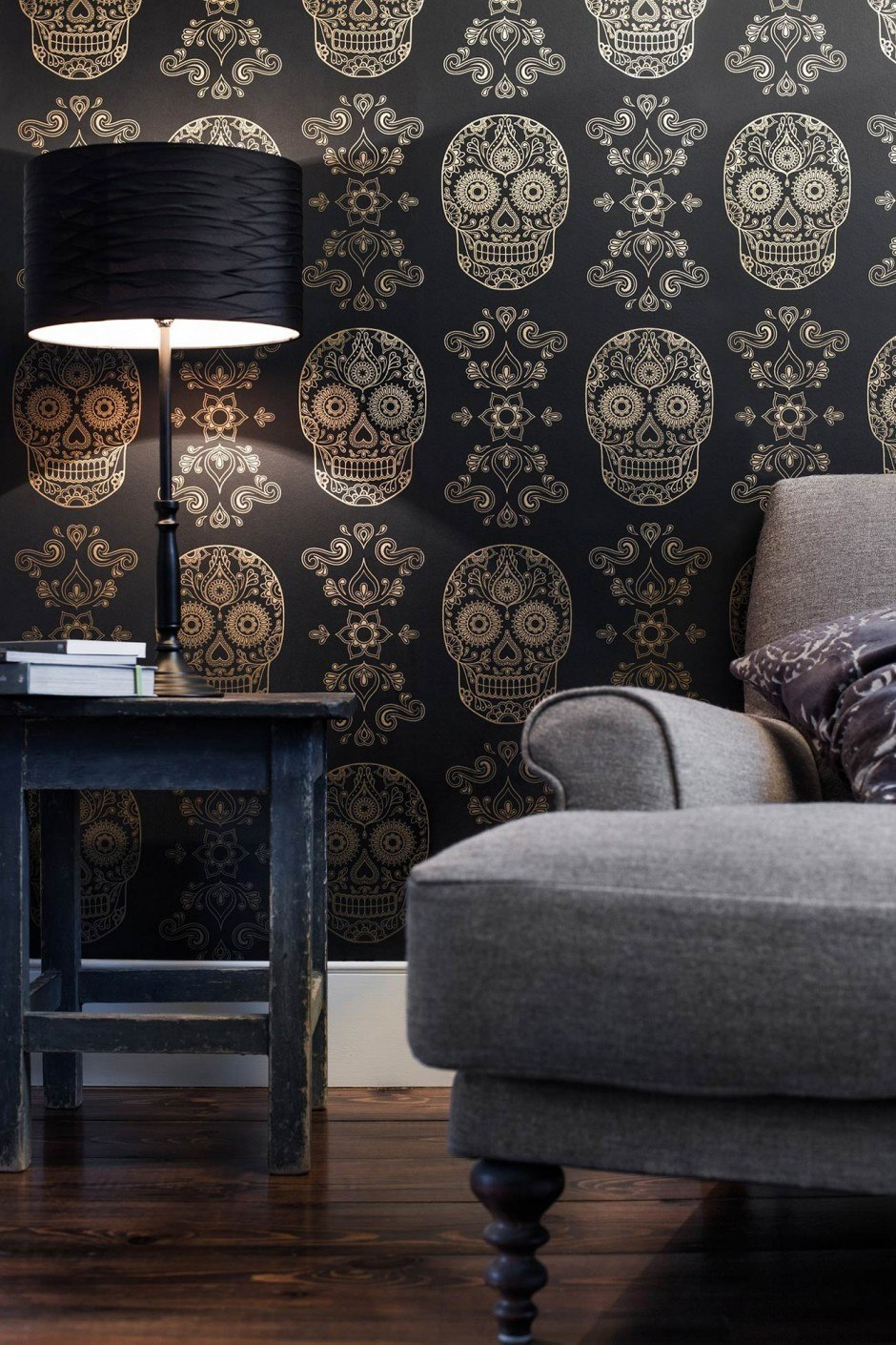 Anatomy Boutique, Sugar Skull Wallpaper (Gold & Black) 2013. Flexographic Printing, www.anatomyboutique.com
