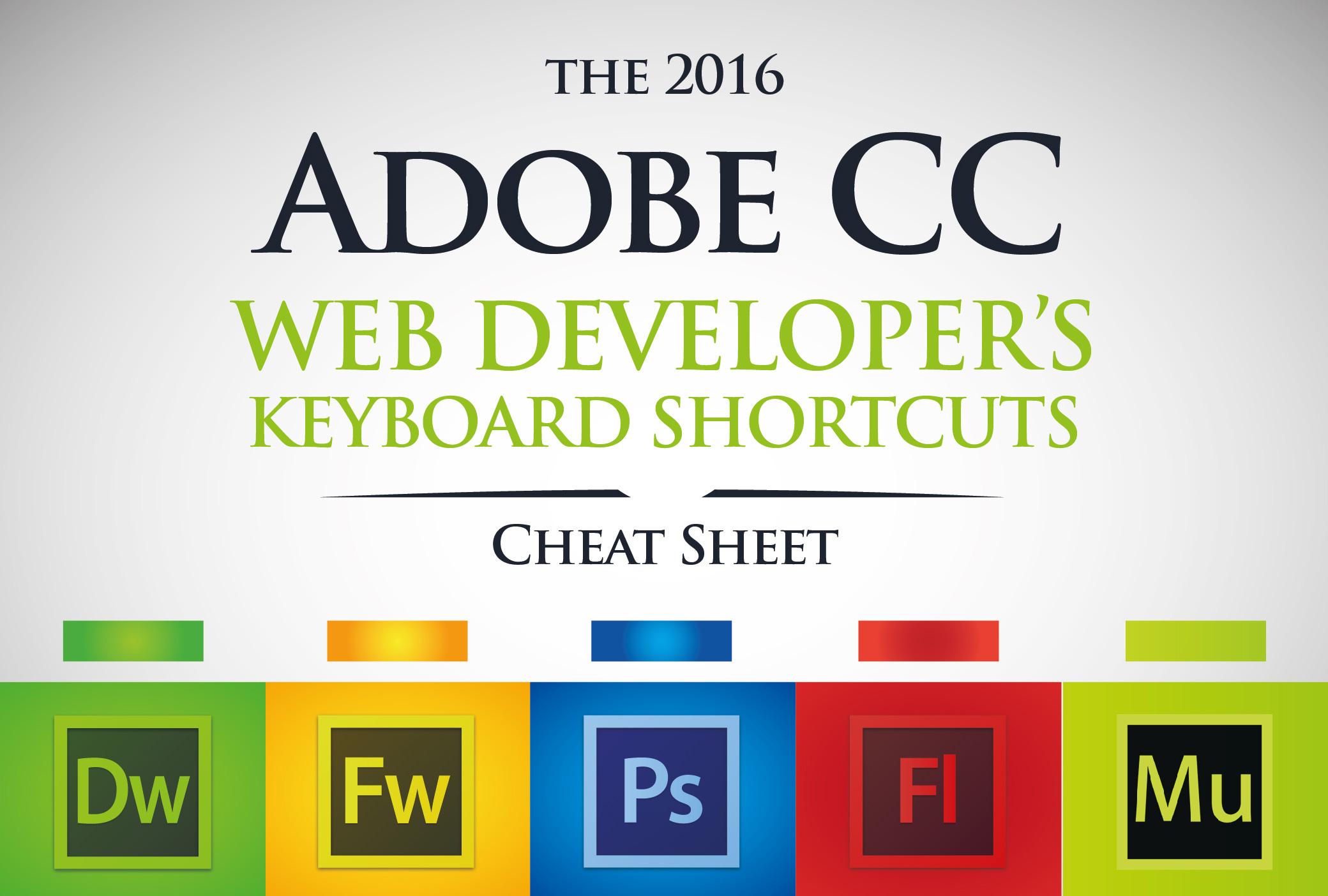 Adobe, Adobe CC, Cheat Sheet, Keyboard Shortcuts