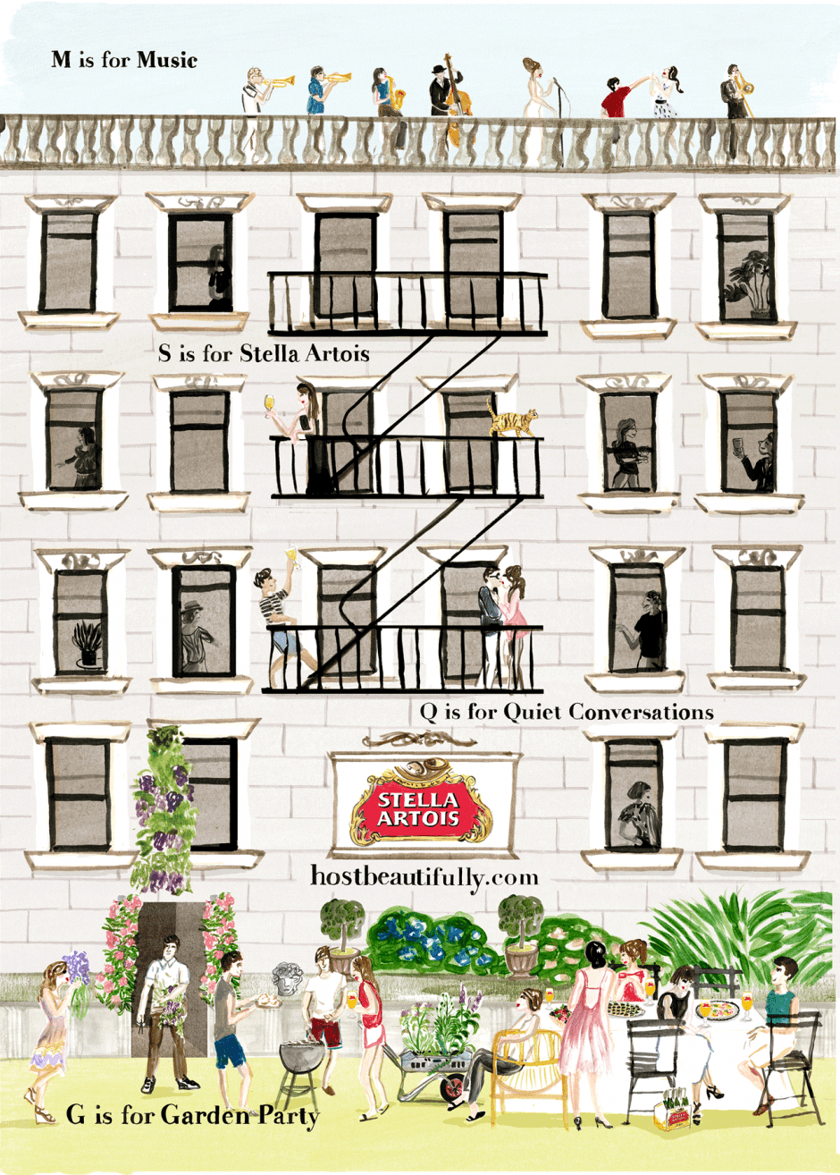 Cassandre Monteriol aus Paris steuerte zauberhafte Illustrationen für die Kampagne »Host Beautifully« von Mother New York für Stella Artois