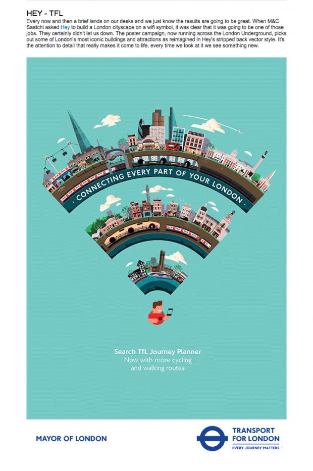 Das Studio Hey aus Barcelona kreierte diese Londoner Stadtlandschaft auf einem Wifi-Symbol für ein Plakat von der Londoner Verkehrsgesellschaft