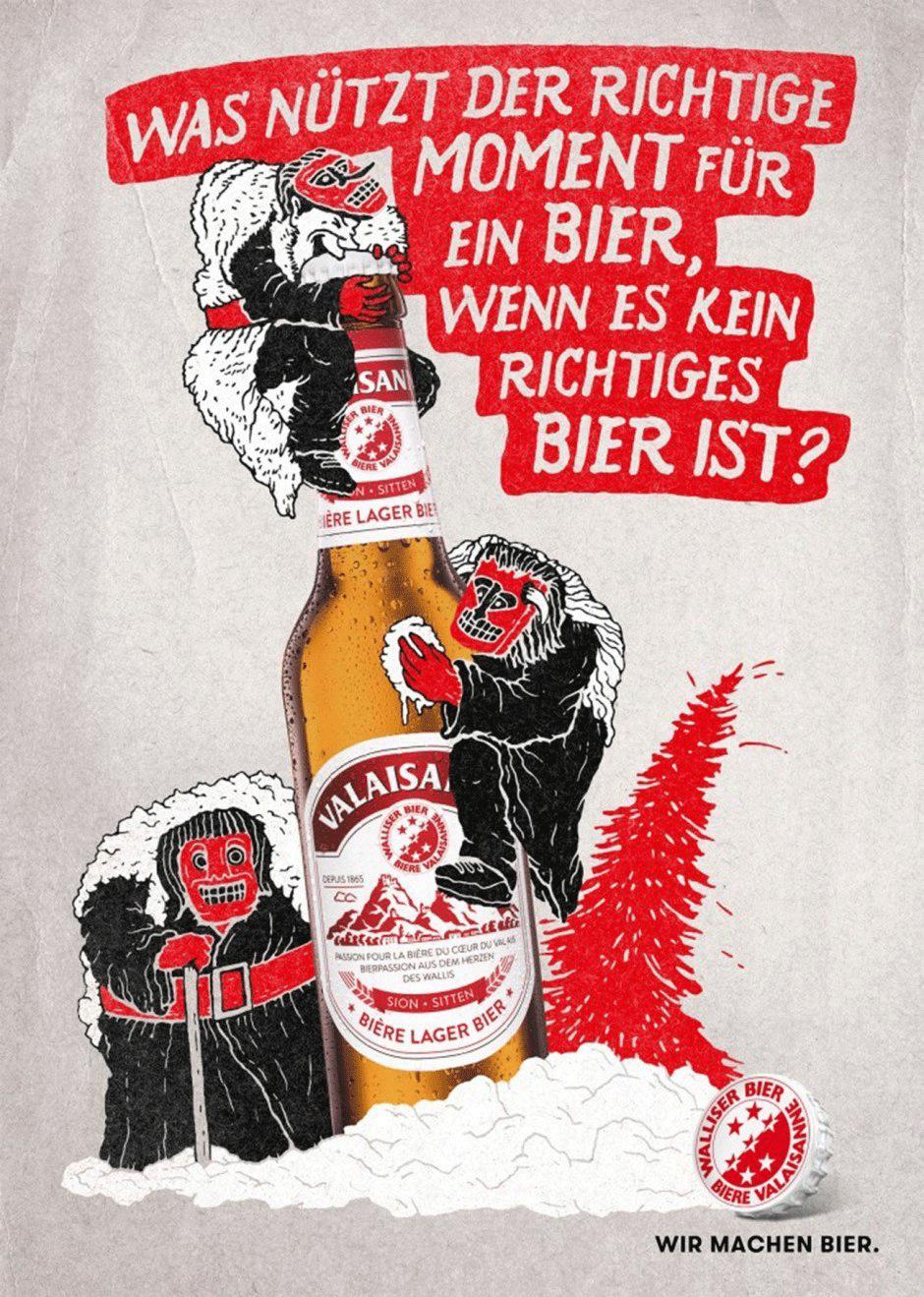 Mit Illustrationen von Jon Contino aus New York legte sich die Schweizer Brauerei Brasserie Valaisanne ein hippes Image zu