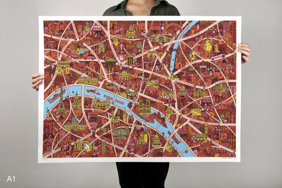 Paris City Map by Allan Deas
