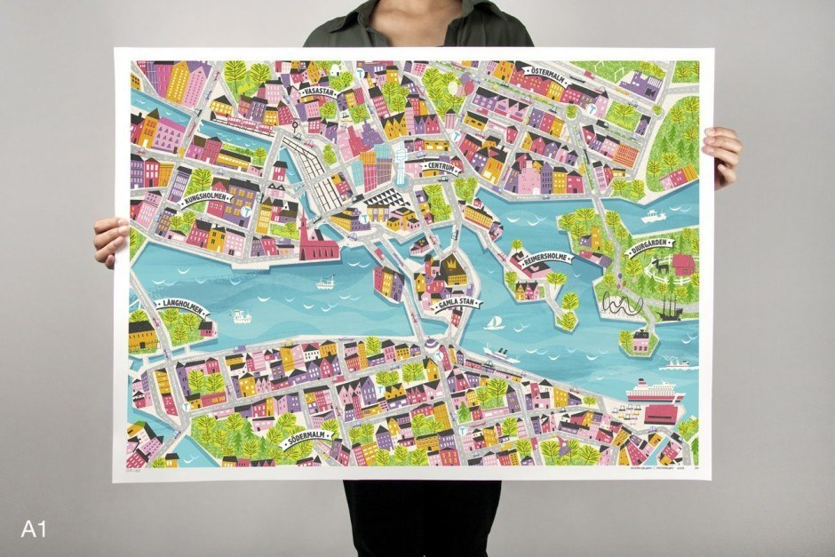 Stockholm City Map by Gustav Dejert