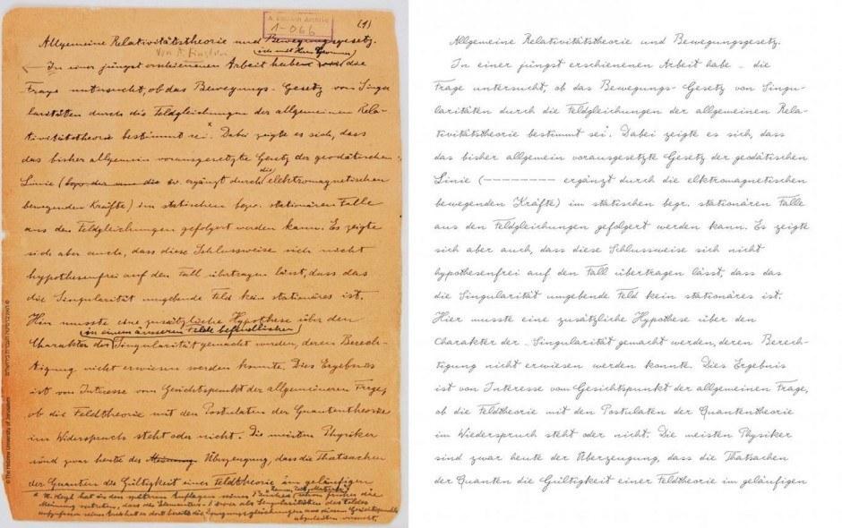 """Auszug aus original Manuskript vom 24. November 1927 zum Thema 'Allgemeine Relativitätstheorie und Bewegungsgesetz' neben dem Albert Einstein Font."""" Bild von Harald Geisler. Die Manuskripte wurden mit der Genehmigung des Albert Einstein Archivs der Hebräische Universität von Jerusalem verwendet."""