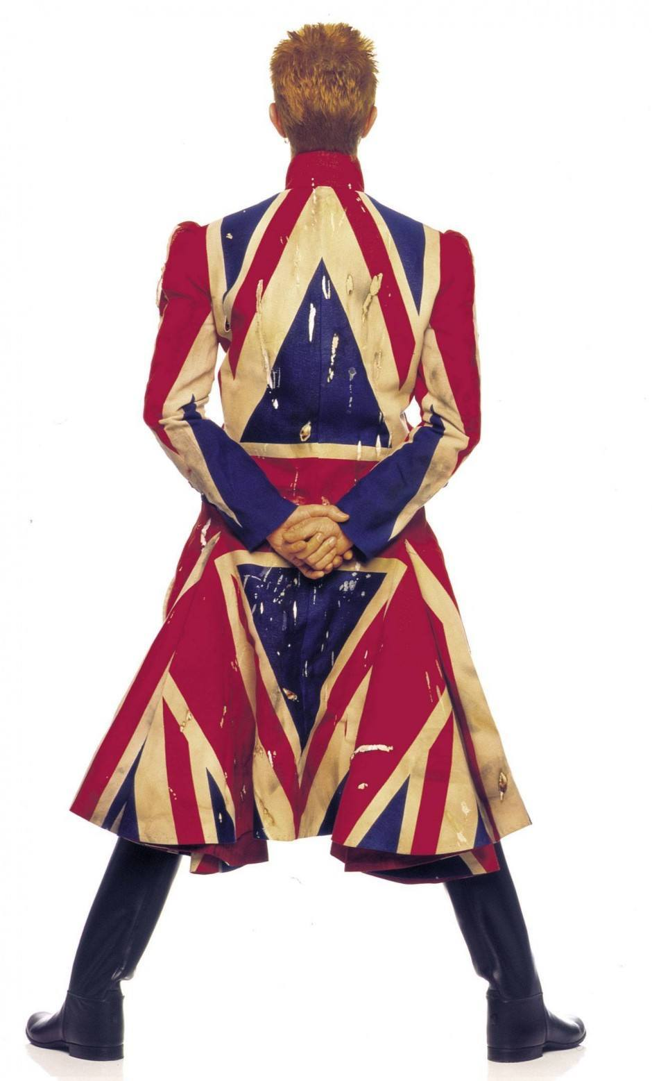 Union Jack coat designed by Alexander McQueen in collaboration with David Bowie, Photograph by Frank W Ockenfels 3