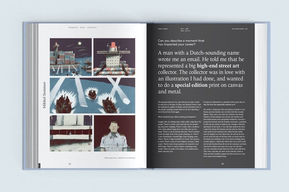 Das Buch »Contemporary Danish Illustration«, erschienen beim Arvinius Verlag in Stockholm, stellt 32 herausragende Illustratoren aus Dänemark vor. Darunter Mikkel Sommer