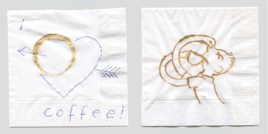 2012, Tinte und Kaffee auf Serviette, 12 x 12 cm
