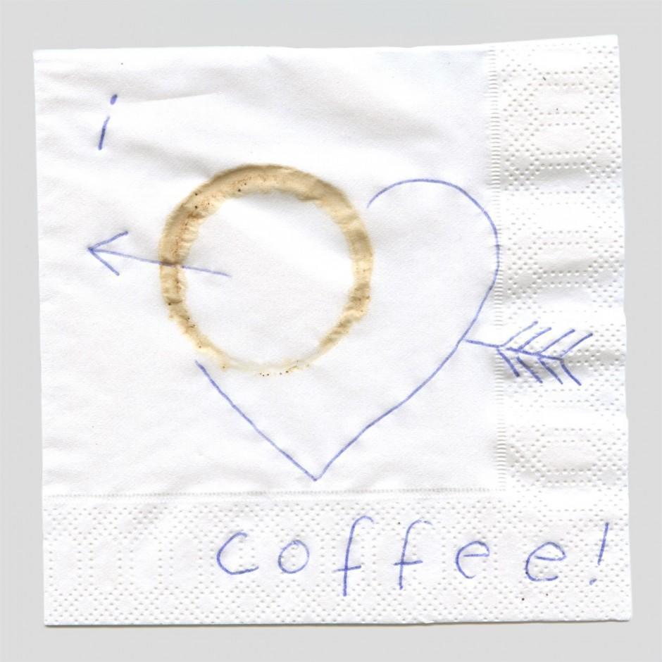 Tinte und Kaffee auf Serviette, 12 x 12 cm