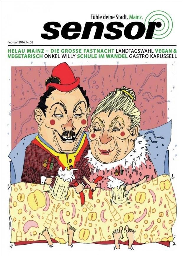 Illustration von Lisa Lorenz für die Mainzer Ausgabe des Stadtmagazins  »Sensor«. www.frau-lorenz.de