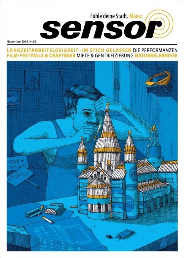 Illustration von Marco Armbruster für die Mainzer Ausgabe des Stadtmagazins  »Sensor«. www.armarco.de
