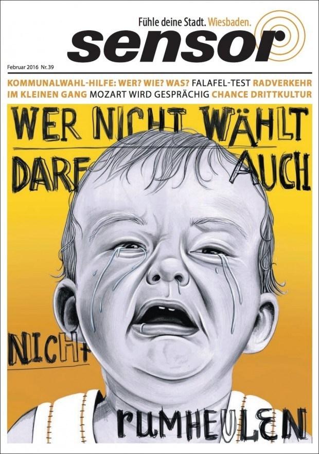 Illustration von Sören Kunz für die Wiesbadener Ausgabe des Stadtmagazins »Sensor«. www.soeren-kunz.de/