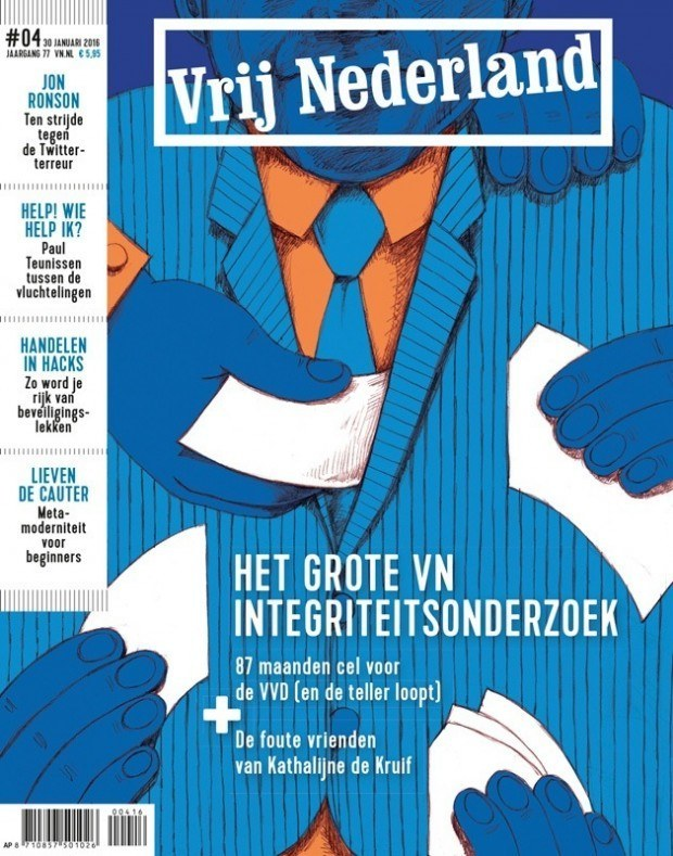 Der Niederländer Zeloot van Dam illustrierte dieses Cover über korrupte Politiker. www.zeloot.nl