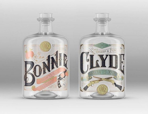 A pair of gin labels designed for the micro distillery, Deluxe Distillery