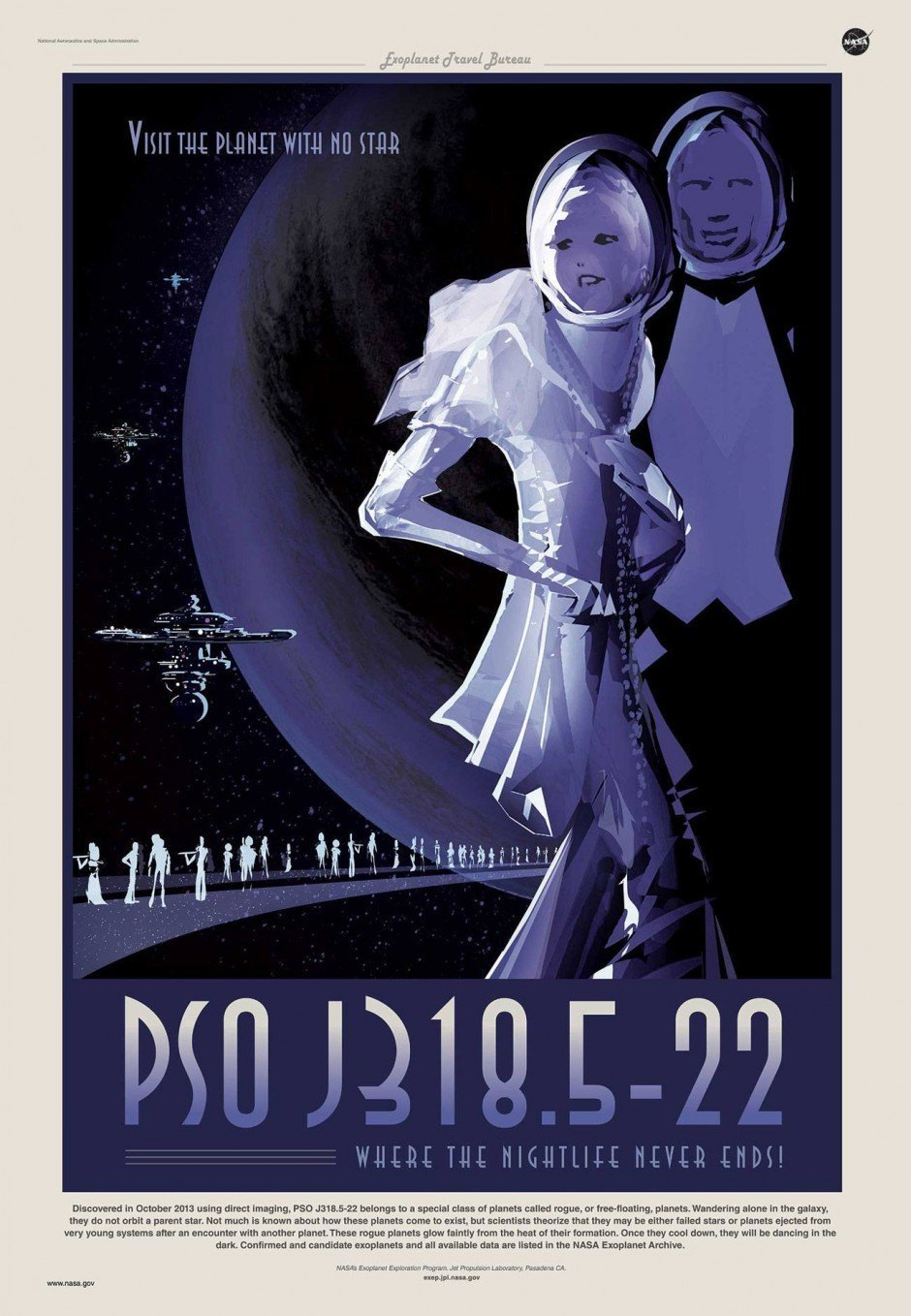 NASA Plakat: PSO J318.5-22 - Where the Nightlife Never Ends