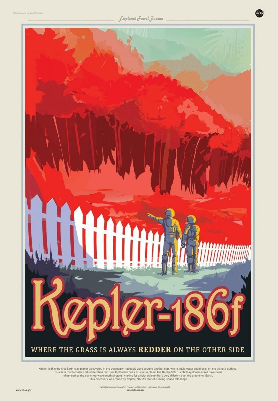 NASA Plakat: Kepler-186 f - Where the Grass is Always Redder