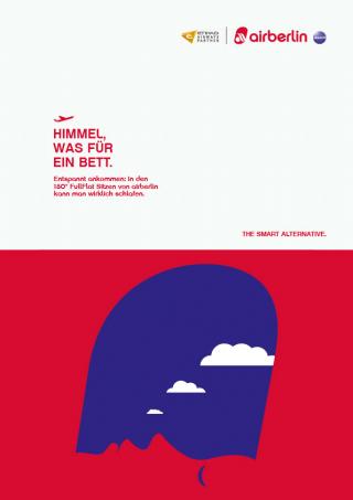 Einfach super, die trickreichen Kampagnenmotive des in London lebenden israelischen Illustrators Noma Bar für Air Berlin
