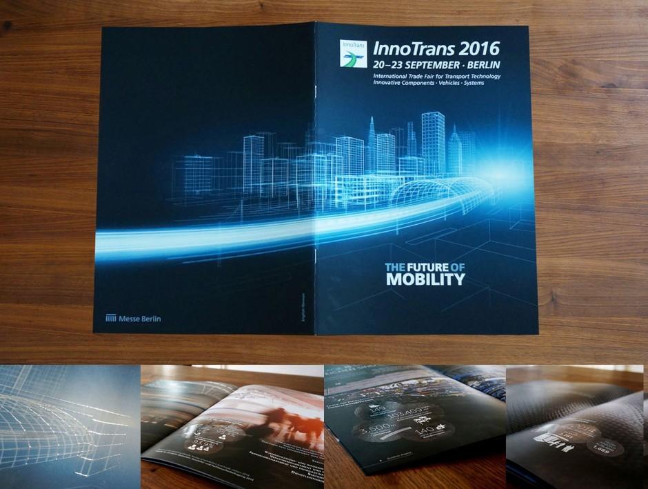 Messe Berlin - Imagebroschüre der InnoTrans 2016 mit Relieflack und Softtouchkaschierung