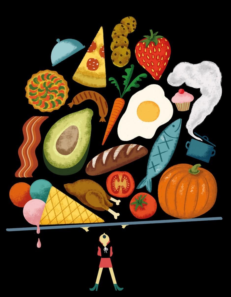 Illustration zu einem Artikel über die große Lust am Essen