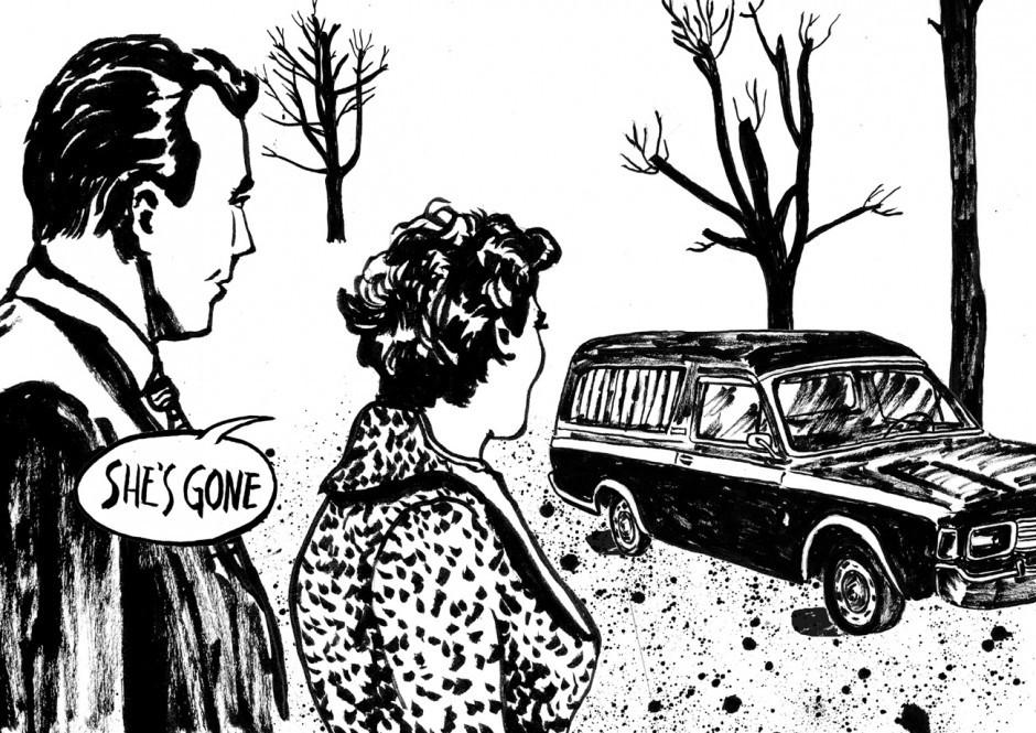 Auszug aus einem Comic Strip im Geiste Alfred Hitchcocks