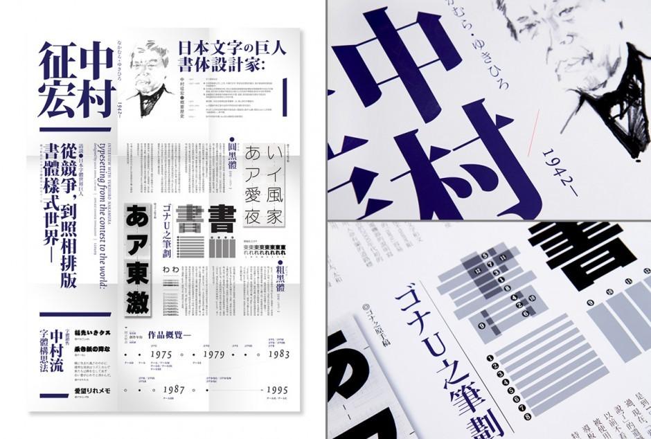 Modern reduziert sind auch die Zeichen des preisgekrönten Fonts, den Kwan 2010 für einen Wettbewerb der Graphic Arts Association Hong Kong gestaltete, während das thematische Typo-Poster in eher klassischer Manier dem Werk des japanischen Typografen Yukihiro Nakamura huldigt – mit freundlicher Unterstützung durch Chan und Tsui von Trilingua sowie Julius Hui.