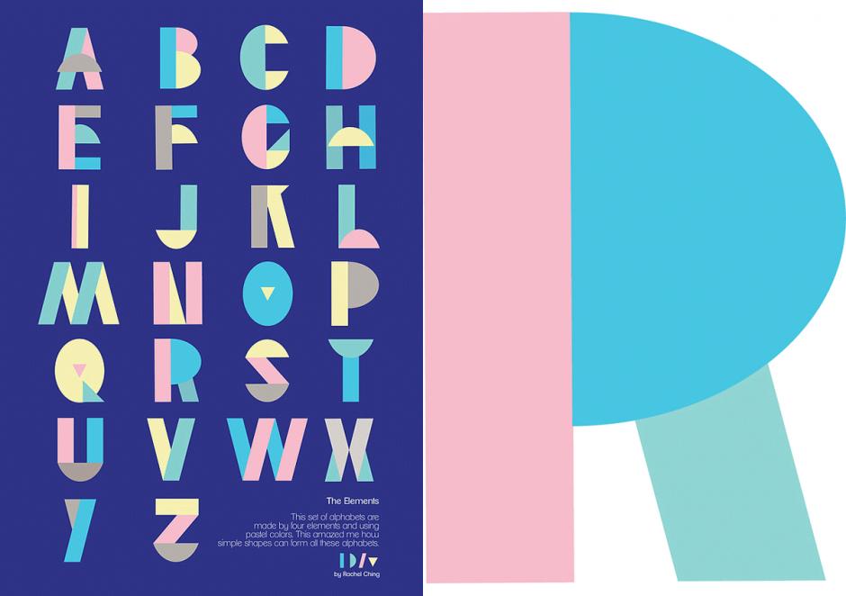 """Die Grafikdesignerin und Illustratorin Rachel Ching liebt einfache Formen und erfrischende Farben. Für ihre Fontstudie """"The Elements"""" dienten ihr lediglich vier, wenngleich unterschiedlich gedehnte, Basiselemente für die Kreation eines originellen Versal-Alfabets."""