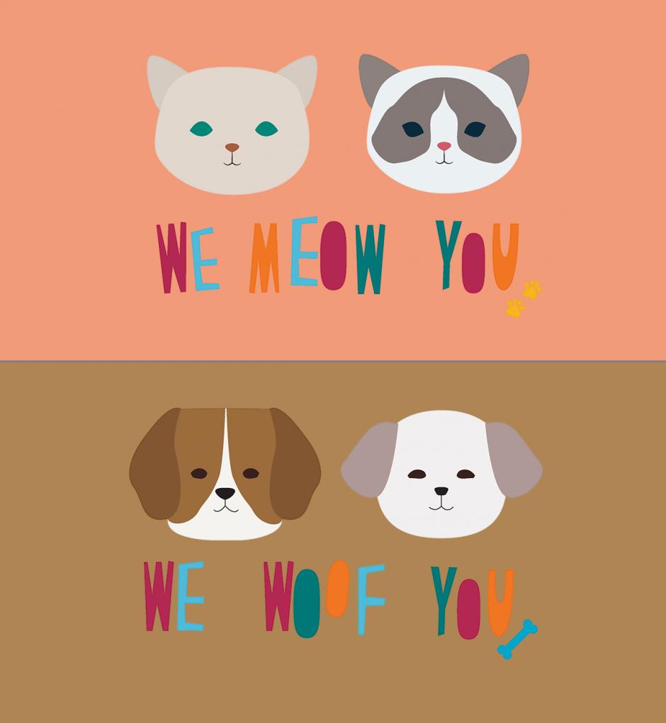 """Die beiden fröhlichen Illustrationen """"We woof you"""" und """"We meow you"""" sind Auszüge aus einem Merchandising-Produktdesign für die nicht-staatliche Hongkonger Tierschutzorganisation SPCA."""