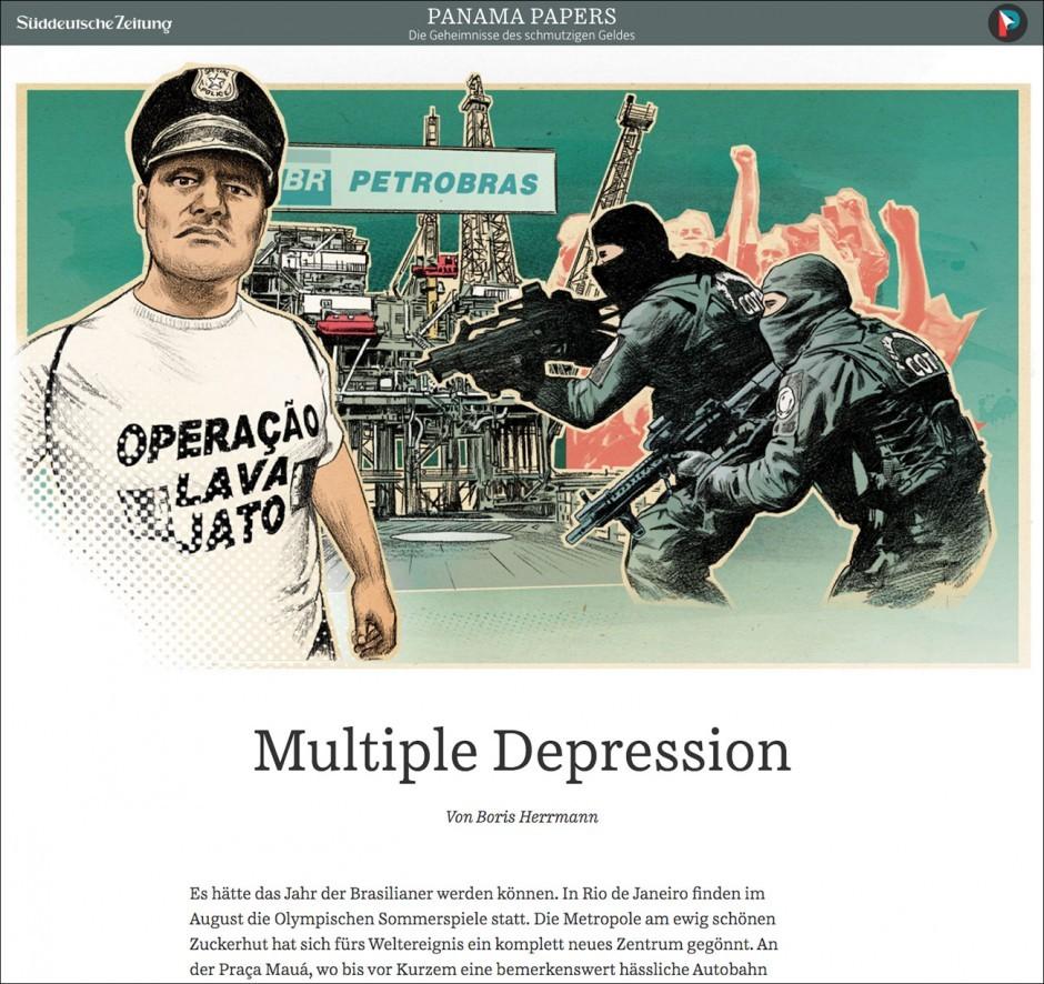 Die »SZ« gibt ihrer Berichterstattung über die Panama Papers mit Illustrationen von Peter M. Hoffmann einen einheitlichen Look