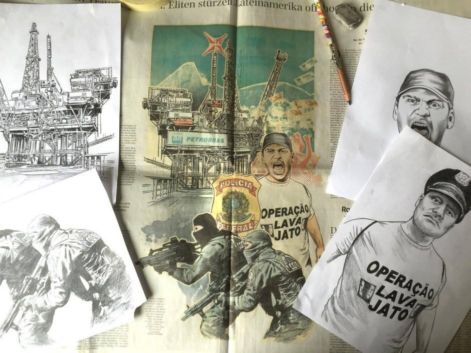 Ein Blick auf den Schreibtisch von Peter M. Hoffmann: Originalzeichnungen und fertige Illustrationen zu den Panama Papers in der »Süddeutschen Zeitung«