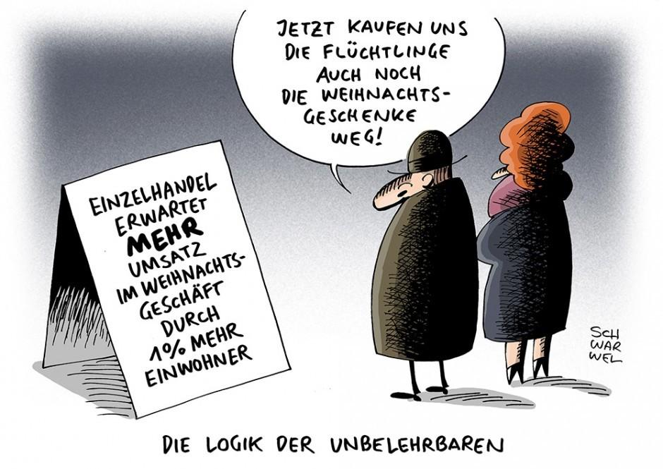 Arbeiten aus Scharwels neuem Buch »Das Maximum der Menschlichkeit. Karikakturen & Cartoons«, erschienen bei Glücklicher Montag. ISBN 978-3-9817615-0-4