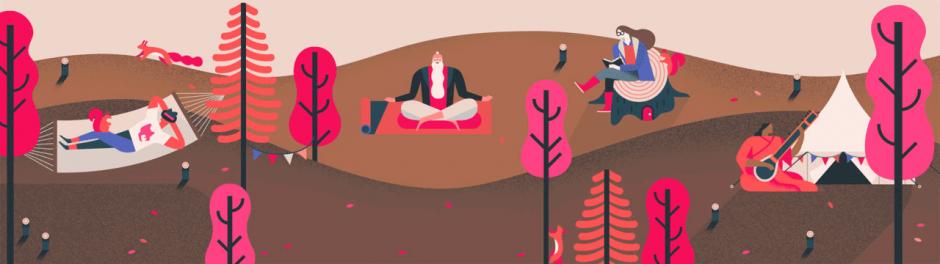 Der britische Illustrator Owen Davey kreierte kleine Alltagsszenarien für den neuen mobilen Zeitplanungs-Assistenten »Ziele« von Google Calendar