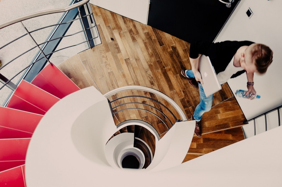 Wendeltreppe zum Wandeln zwischen den Etagen