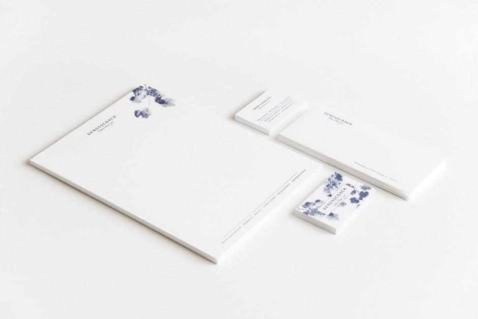 Branding und Geschäftspapiere für Sommelière »Sabine Flieser-Just«, Branding Projekt mit Katja Mock, Katharina Schwarz und Klara Vith