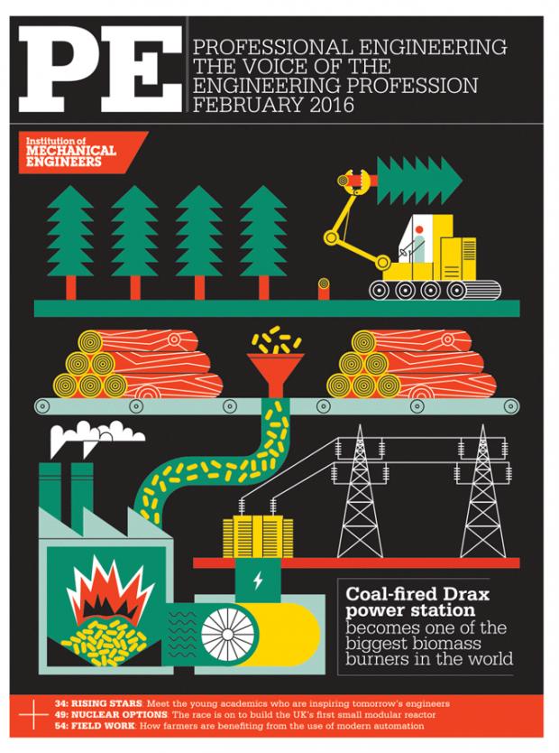 Ökologisch sinnvoll? Coverillustration des Briten John Devolle über Stromerzeugung durch Pelletöfen. http://johndevolle.co.uk