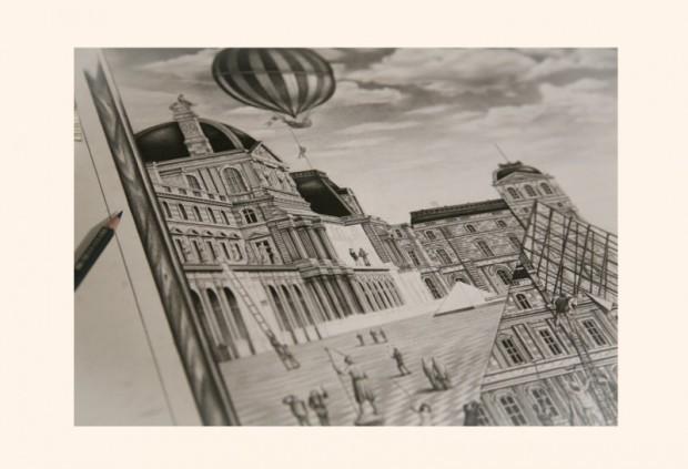 Details aus der Zeichnung von Jérémy Schneider für ein Werbeplakat zur Installation von Street Artist JR im Louvre