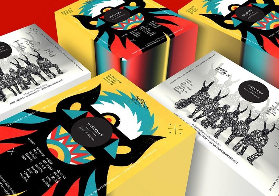 AABER ArtSpace: Flyer Design für die Ausstellung Spieltrieb