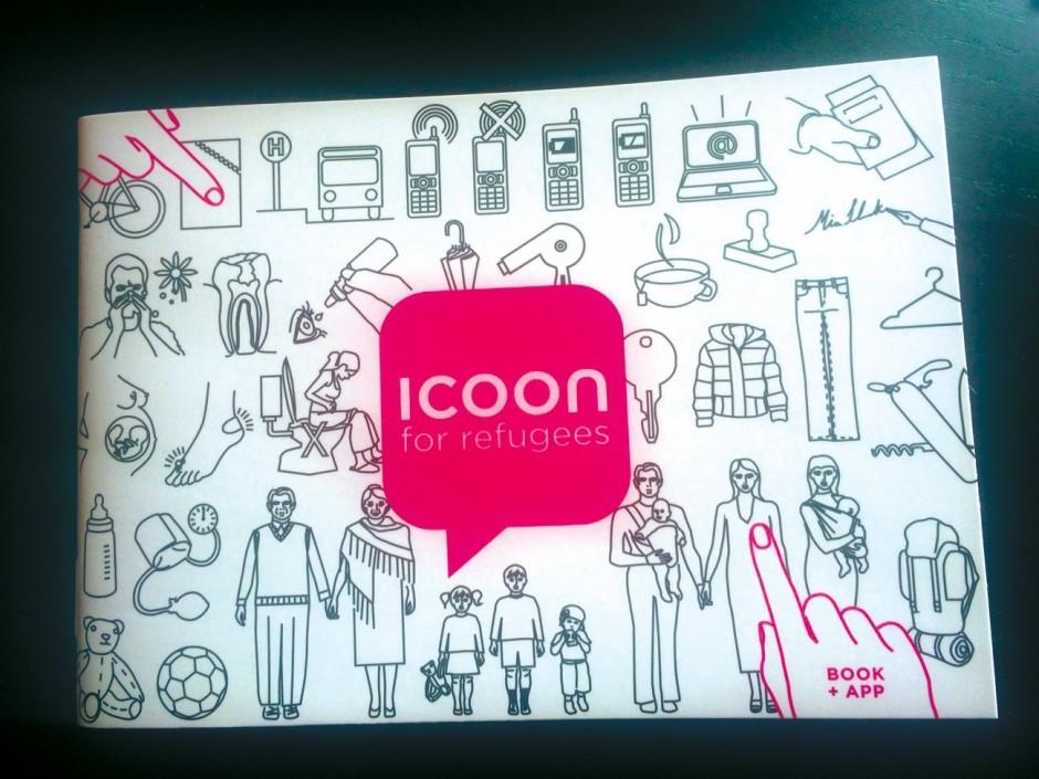 Mit dem Büchlein »Icoon for refugees« lässt sich anhand von 1200 Pikto- grammen aus zwölf Kategorien kommunizieren, auch wenn man nicht die gleiche Sprache spricht.