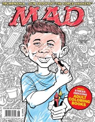 »Stress-Inducing Adult Coloring Books«: Das Satiremagazin »MAD« macht sich mit Hilfe des Illustrators Tom Richmond über den Trend zu Ausmalbüchern für Erwachsene lustig. www.tomrichmond.com