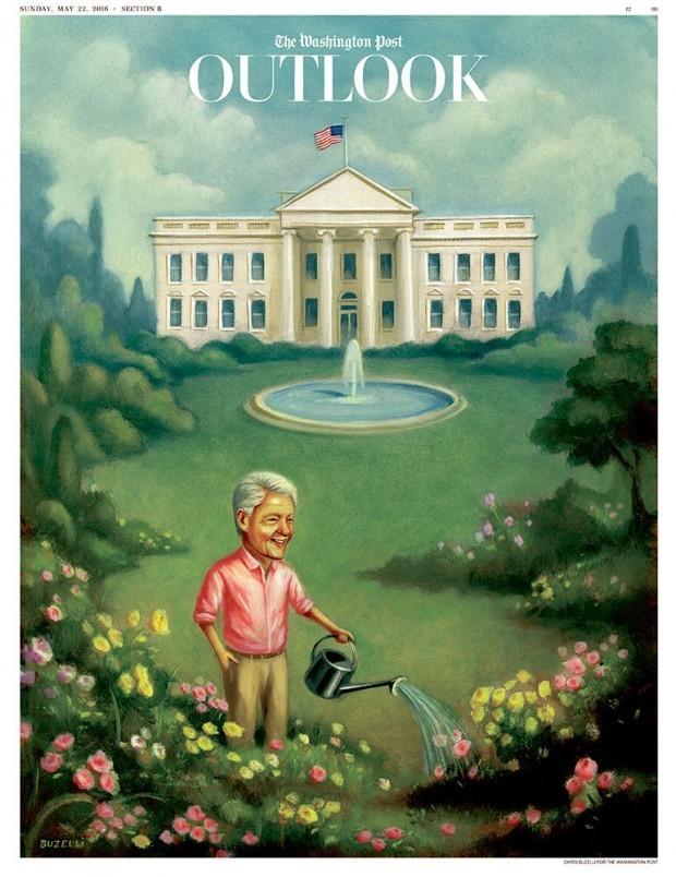 »White House Husband«: Was Bill macht, wenn Hillary Präsidentin wird, malte sich Chris Buzelli für die »Washington Post« aus. www.chrisbuzelli.com/