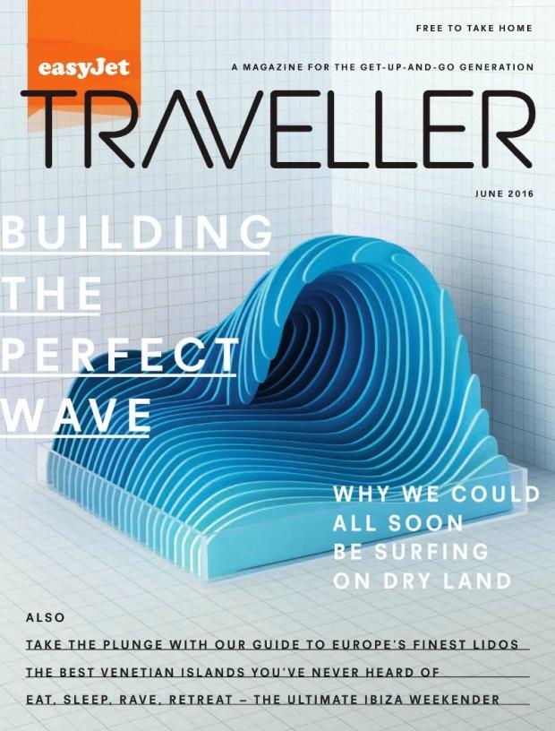 Kyle Bean hat die Einzelteile dieser Welle fürs »EasyJet Magazine« per Hand ausgeschnitten und in verschiedenen Blautönen bepinselt. https://kylebean.co.uk/