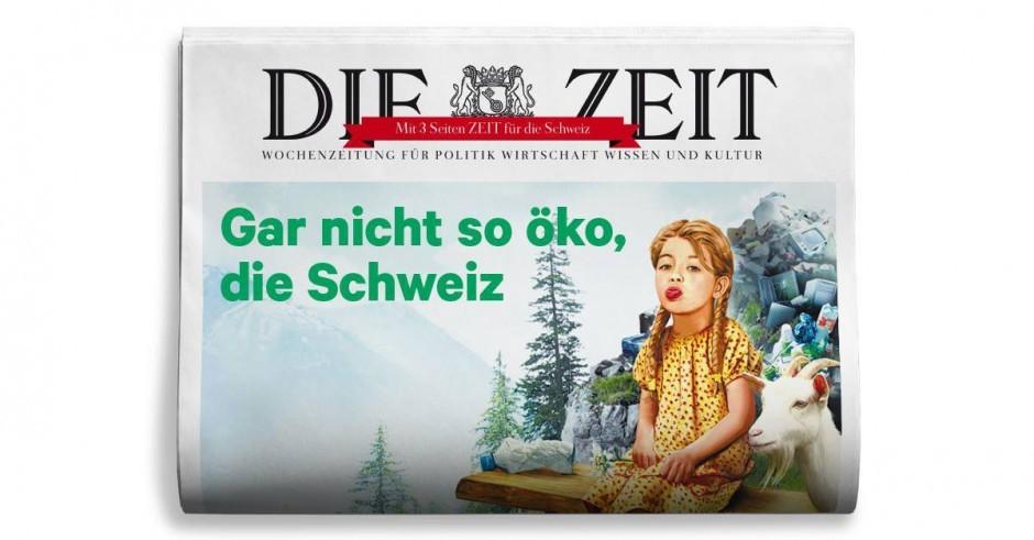 Nur auf den allerersten Blick idyllisch: Heidi auf den Müllbergen, gezeichnet von Thomas Kuhlenbeck. www.thomas-kuhlenbeck.com/
