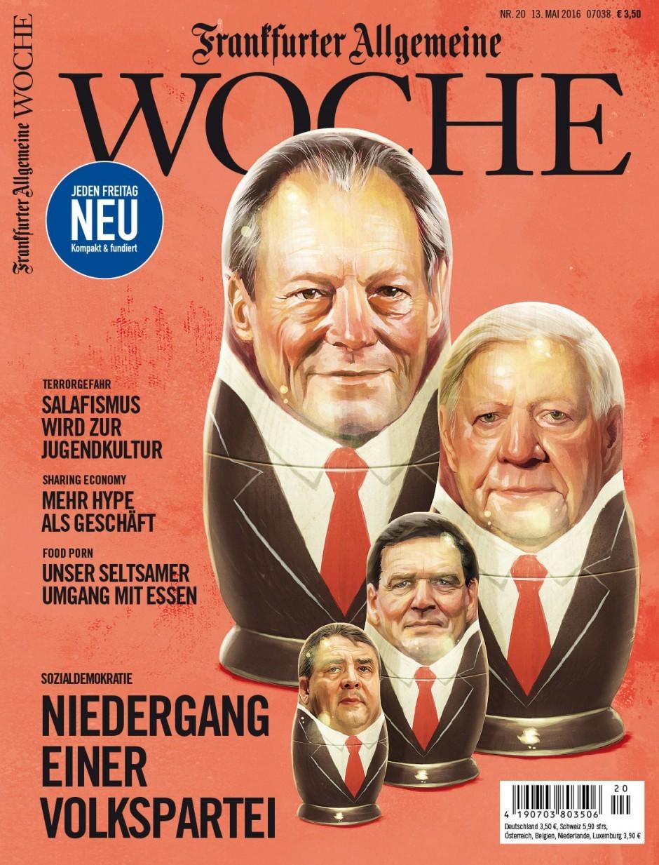 Irgendwie werden die SPD-Führer mit der zeit immer kleiner … Illustration von Mart Klein & Miriam Migliazzi. http://dainz.net/